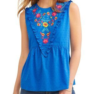 Time & Tru Swiss Dot Embroidered Floral Top